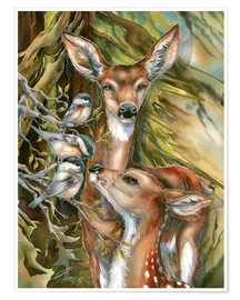 Premium poster Deers and birds