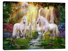 Canvas print  Waterfall Glade Unicorns - Jan Patrik Krasny