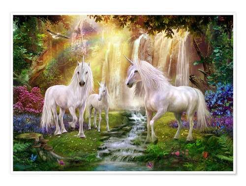 Premium poster Waterfall Glade Unicorns