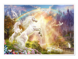 Premium poster Sunset unicorns