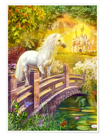 Premium poster Enchanted garden unicorns