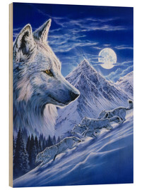 Wood print  Running with the pack - Robin Koni