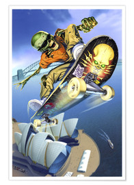 Premium poster  Skateboarding over Opera House - Extreme Zombies