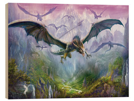 Wood print  The Valley Of Dragons - Dragon Chronicles