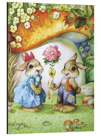 Aluminium print  Rabbits and rose - Petar Meseldzija