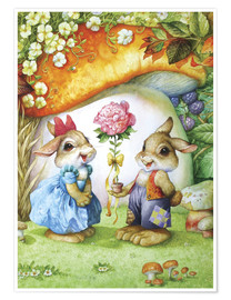 Premium poster  Rabbits and rose - Petar Meseldzija
