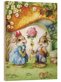 Wood print  Rabbits and rose - Petar Meseldzija