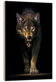 Wood print  Stalking wolf - Chris Hiett