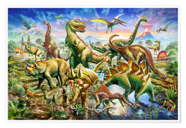 Premium poster  Assembly of dinosaurs - Adrian Chesterman