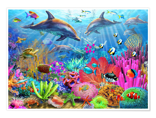 Premium poster Dolphin coral reef