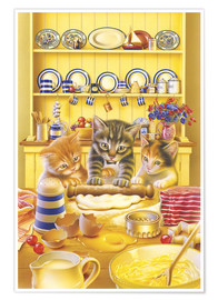 Premium poster Cats cooking cake