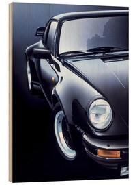 Wood print  Black Porsche turbo - Gavin Macloud