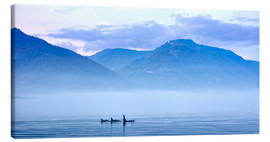 Canvas print  Three Killer whales in mountain landscape at Vancouver Island - Jürgen Ritterbach
