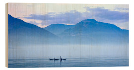 Wood print  Three Killer whales in mountain landscape at Vancouver Island - Jürgen Ritterbach