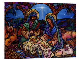 Acrylic print  Stained Glass Nativity - Lewis T. Johnson