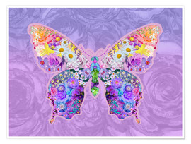 Premium poster Purple Floral Buttefly