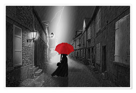 Premium poster  The woman with the red umbrella - Monika Jüngling