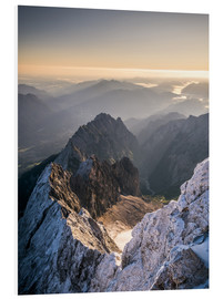 Foam board print  View over the Alps from Zugspitze - Andreas Wonisch
