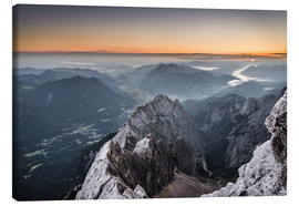 Canvas print  Sunrise from Zugspitze mountain with view across the alps - Andreas Wonisch