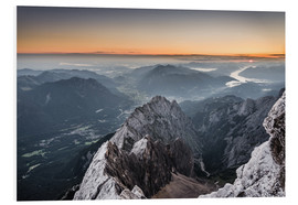 Foam board print  Sunrise from Zugspitze mountain with view across the alps - Andreas Wonisch