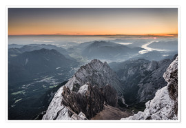 Premium poster Sunrise from Zugspitze mountain with view across the alps