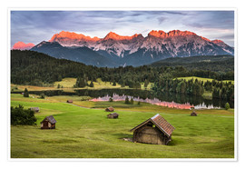 Premium poster Alpenglow at Karwendel mountains