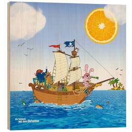 Wood print  Pirate ship in search of treasure