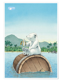 Poster  The little polar bear eating a banana