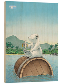 Wood print  The little polar bear eating a banana