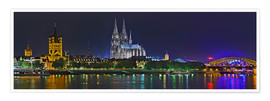 Premium poster  Cologne skyline at night - FineArt Panorama