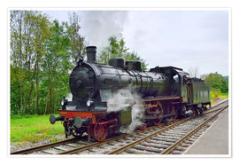 Premium poster  Old Steam Locomotive in the Black Forest - FineArt Panorama
