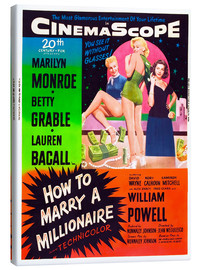 Canvas  HOW TO MARRY A MILLIONAIRE, Betty Grable, Marilyn Monroe, Lauren Bacall