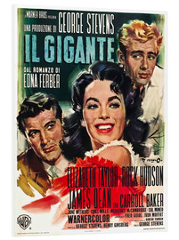 Foam board print  GIANT, Rock Hudson, Elizabeth Taylor, James Dean