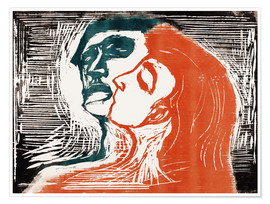 Premium poster  Man and woman is kissing - Edvard Munch