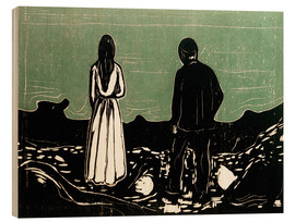 Wood print  Two human Beings. The Lonely Ones - Edvard Munch