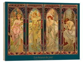 Wood print  Les heures du jour, nuit collage (French) - Alfons Mucha
