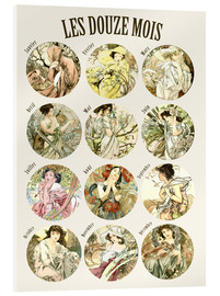 Acrylic print  Les Douze Mois - 12 Months of the Year - Alfons Mucha
