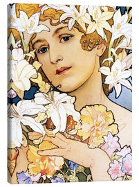 Canvas print  Flower, detail I - Alfons Mucha