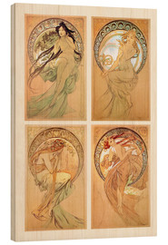 Wood print  The Four Arts, study collage - Alfons Mucha
