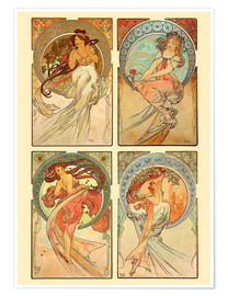 Premium poster  The four arts, collage - Alfons Mucha
