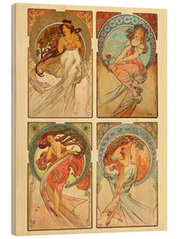 Wood print  The four arts, collage - Alfons Mucha