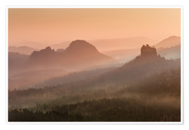 Premium poster Sunrise in the Saxon Switzerland