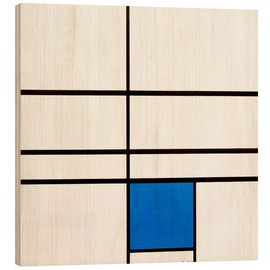 Wood print  Composition with Blue - Piet Mondriaan