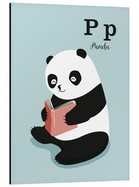 Aluminium print  The animal alphabet - P like Panda - Sandy Lohß