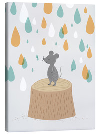 Canvas print  Mouse in the colorful rain - Sandy Lohß