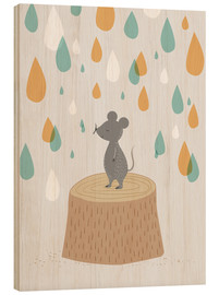Wood print  Mouse in the colorful rain - Sandy Lohß
