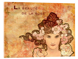 Acrylic print  Rose, Collage - Alfons Mucha
