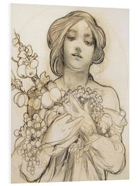 Foam board print  Study of the Woman with Flowers - Alfons Mucha