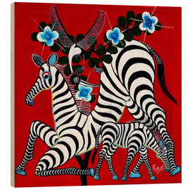 Wood print  Zebras in the Wild - Rubuni