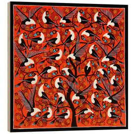 Wood print  The wild flock of birds - Saidi